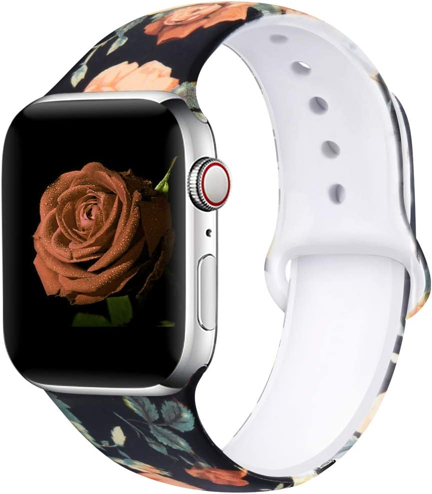 EXCHAR Compatible with Apple Watch Band 4mm 42mm Fadeless Pattern Printed Floral Bands Silicone Replacement Band for iWatch Series 5 series 4/3/2/1 for Women Men M/L Flower J08