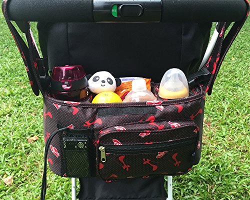 Stroller Organizer Bag, Chilly Pram Organizer Stroller Cup Holders with Removable Shoulder Strap, Fit All Strollers, Extra Large Storage Space for All Personal Belongings (Red)