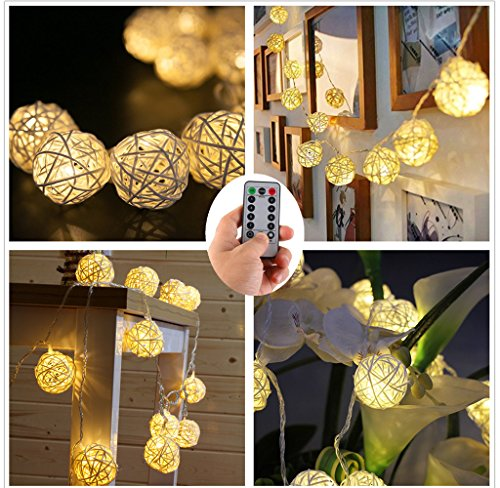 Cream Globe - Rattan Ball String Lights with Remote,20 Cream White Wooden Rattan Ball,Warm White LEDS Good Decoration for Christmas Indoor Bedroom, Wedding, Party [ Rattan Ball's Diameter:5cm/2.04 in ]
