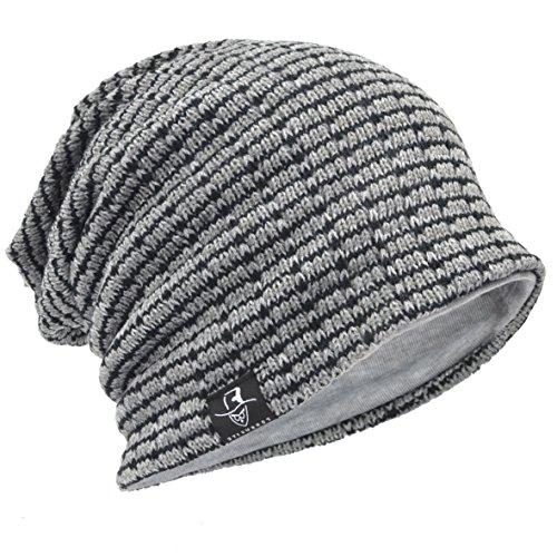 (Men's Slouch Knitted Beanie Hat Crochet Stripe Winter Cap Oversized B318)