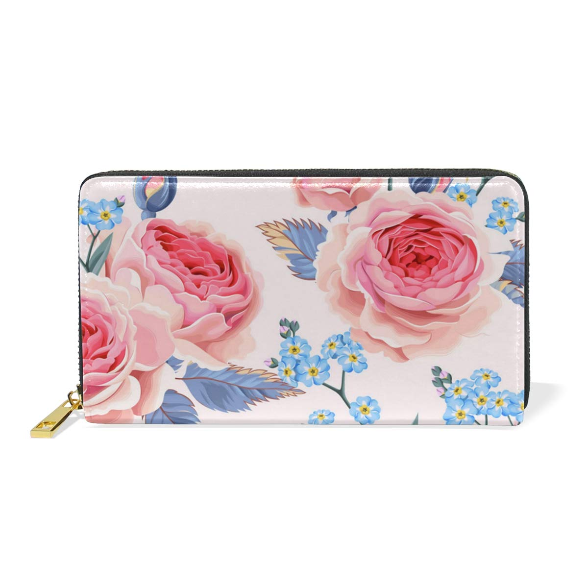 Light Purple Rose Pink Real Leather Zip Around Wallet Wristlet minimalist wallet Travel Purse Wristlet