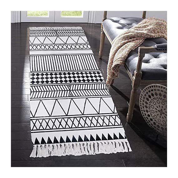 HEBE Cotton Rug Runner 2.3'x6' Washable Woven Tassel Black and White Rugs Cotton Throw Rugs Floor Carpet Mat Bohemian Rug for Living Room Kitchen Laundry - Area Rug Runner Size: Package includes 1 PCS cotton woven tassels runner rug. Cotton runner rug measure size at 2.3 x 6 ft/70*180cm.The size is perfectly suitable for kitchen floor,laundry room,living room,entrance way,doormat or any room you like. Accent Cotton Rug: Woven cotton throw rugs runner well made by Natural Cotton.Cotton material makes excellent water absorption.It's safe for the environment, give soft and breathable touch when people walk on them. Printed Bohemian Cotton Rug Runner: Cotton throw rug designed with geometric patterns and extra snazzy knotted tassels on each side which make them seem chic.Cotton area rug color is black and white that will make it never go out of style and long time stay on the floor. - runner-rugs, entryway-furniture-decor, entryway-laundry-room - 61agPvz g9L. SS570  -