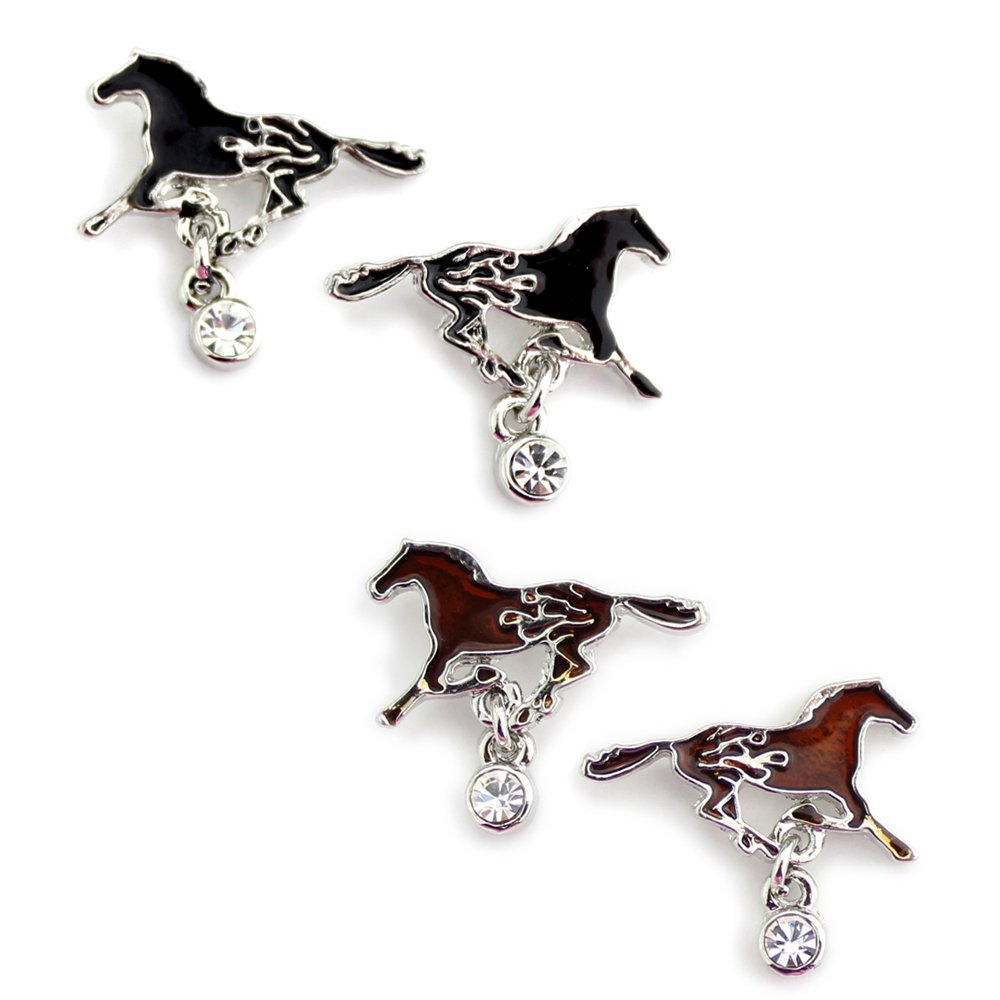 Western Fire Black or Brown Running Horse Earrings from the WYO-HORSE Jewelry Collection (Black)