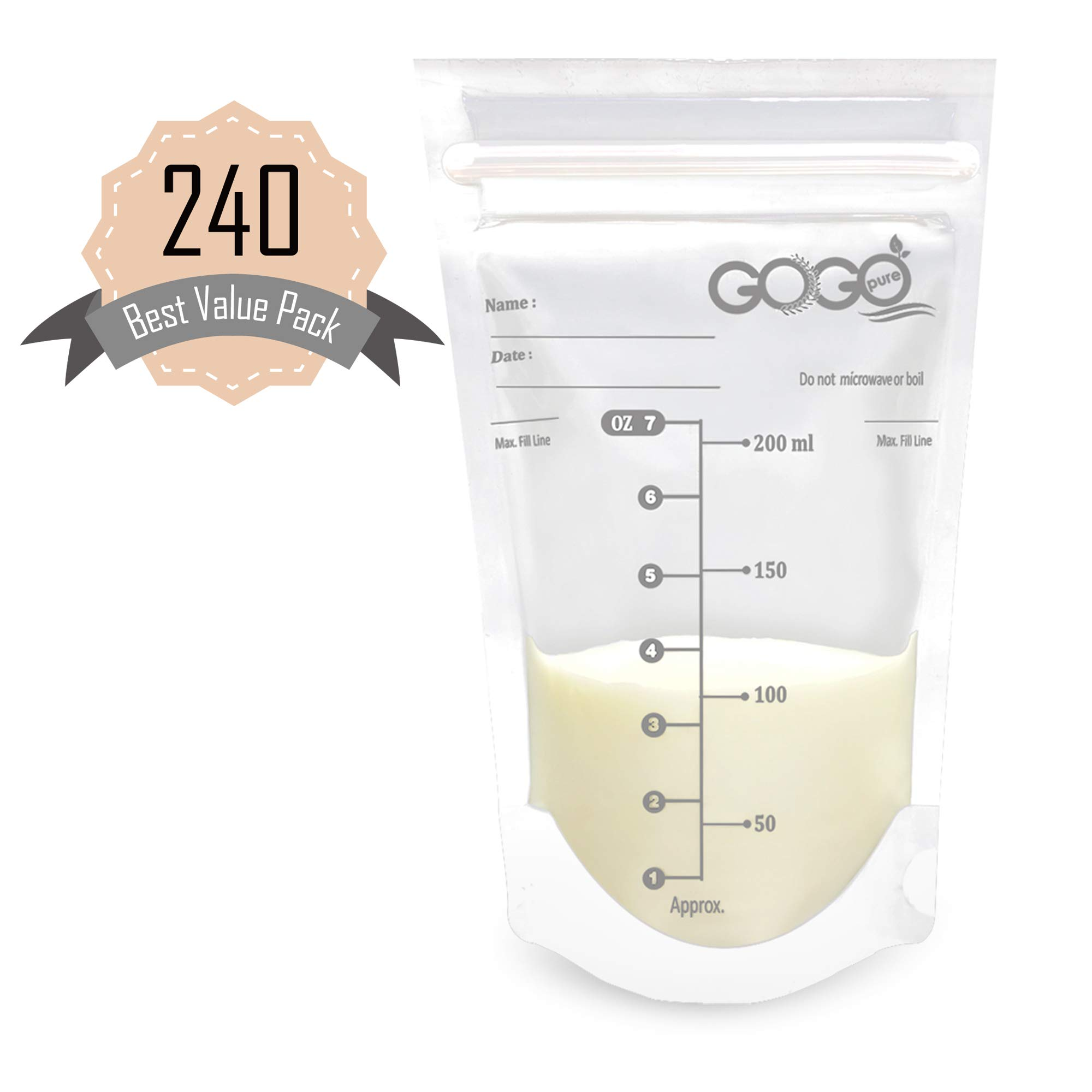 240 Count Best Value Pack Breast Milk Storage Bags - 7 Ounce, Pre-Sterilized, BPA Free, Leak Proof Double Zipper Seal, Self Standing, for Refrigeration and Freezing - Only Available at Amazon! by Go Go Pure