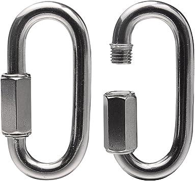 SunAter - Mosquetón de acero inoxidable en forma de O, 2 unidades, mosquetón de bloqueo para escalada, camping, senderismo, yoga, hamaca