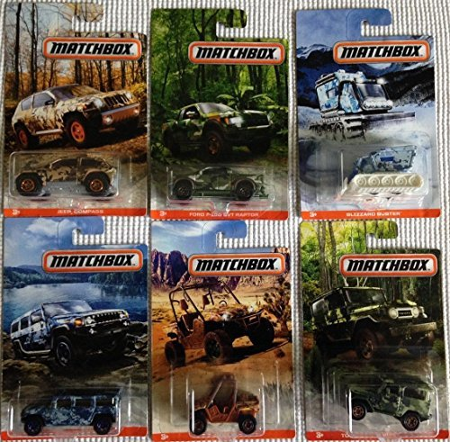 Toyota Jeep - 2017 Matchbox Walmart Exclusive Camo Series: Ford F-150 SVT Raptor, Hummer H2 Concept, Jeep Compass, Yamaha Rhino, Blizzard Buster, Toyota Land Cruiser FJ40 - Complete Set of 6!