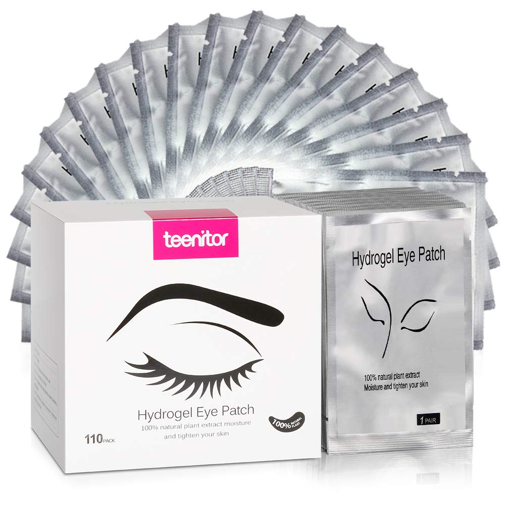 Teenitor 110 Pairs Set, Under Eye Pads, Professional Eyelash Pad Gel Patch for Lashes Extension Lint Free Eye Mask Tool