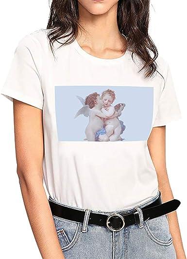 Luckycat Blusa de Fiesta de Mujer Elegantes Camisa de Verano Mujer Corto Camiseta de Manga Corta con pequeño ángel Estampado de Mangas Cortas para Mujeres en Verano Tops Blusa t Shirt: Amazon.es:
