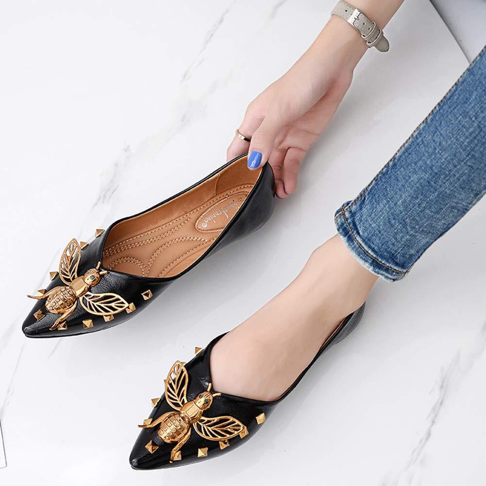Zanzan Damen Damen Zanzan Flache Schuhe Leichte Atmungsaktiv Und Bequem Metall Besetzt Leder Tanz Freizeitschuhe,schwarz,42 - 8ac21e