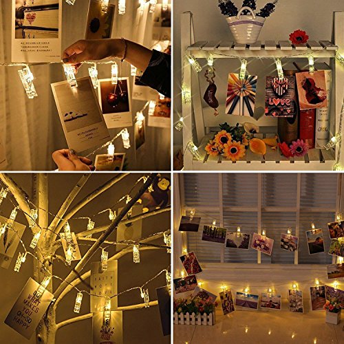 LED Photo Clip String Lights, Amazlab T2C Christmas Wedding Party Decorative Lights, Hanging Fairy Lights, 16 Photo Clips with Battery Powered, Warm White (Battery)