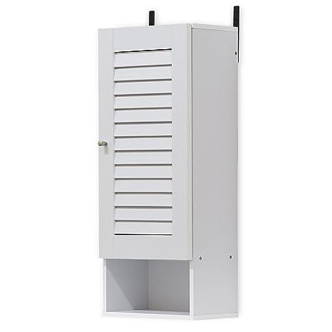 Bon Furinno 16069WH Indo Slim Wall Cabinet, 11.8 Inch, White
