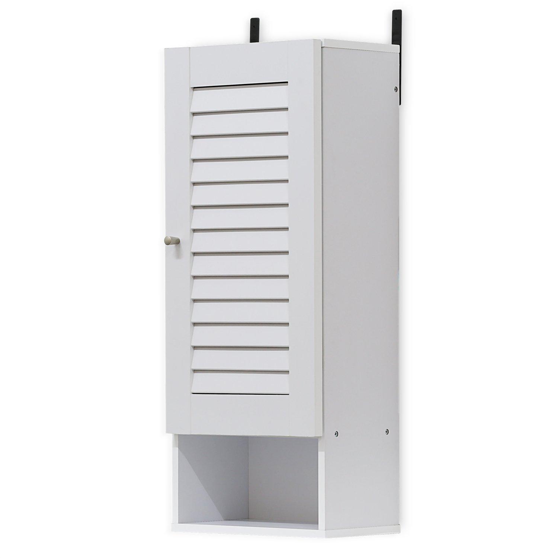 FURINNO 16069WH Indo Slim Wall Cabinet, 11.8 Inch, White