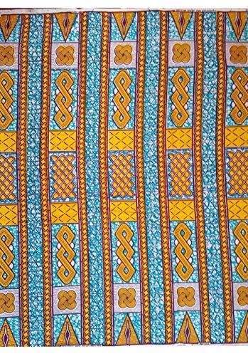 Blue Wax Block - Julius Holland - Wax block - African Fabric Aqua Blue and Yellow (4 Yards)