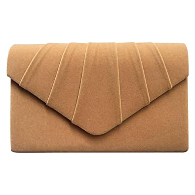 b92c49ddddec7 Wocharm Fashion Ladies Suede Velvet Envelope Clutch Bag Handbag Bridal  Evening Womens Designer Prom Party (