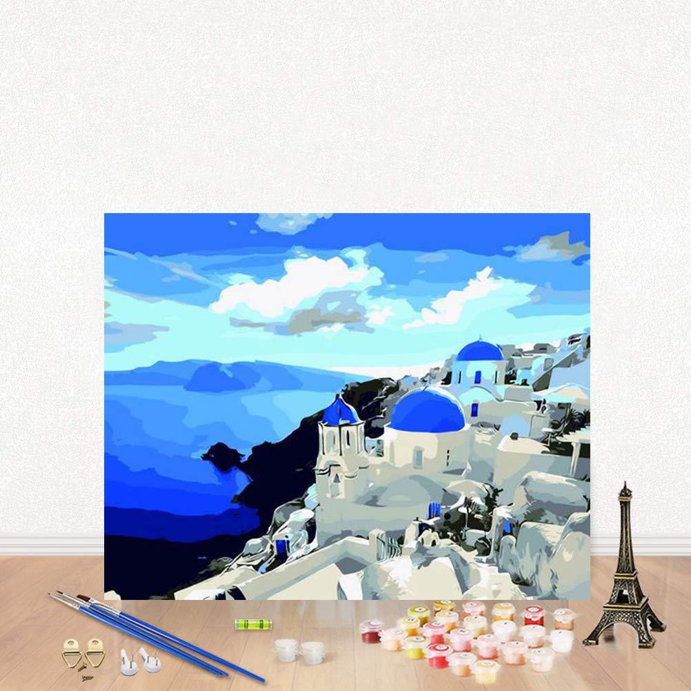 50 cm Mar Egeo 40 TAIPPAN Pittura fai-da-te con kit di numeri per principianti adulti Paesaggio Immagine moderna senza cornice Decorazioni per la casa Per soggiorno