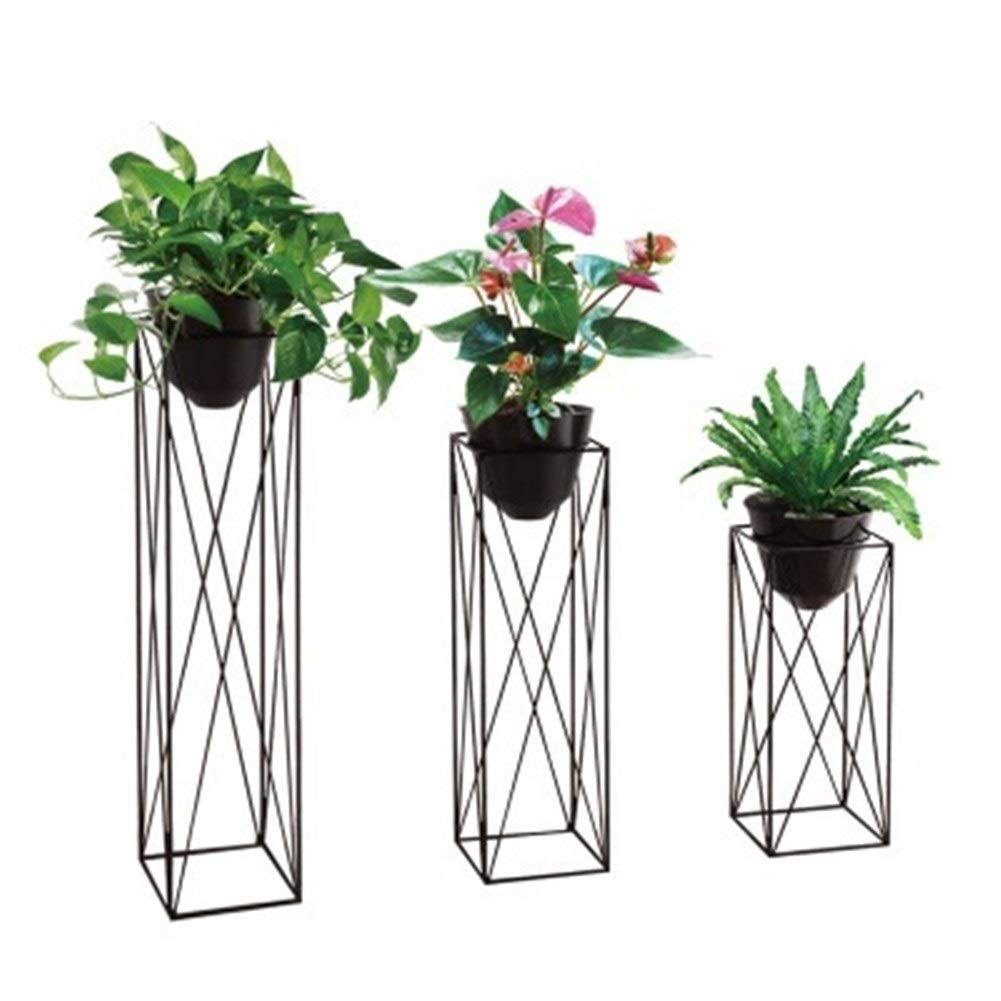 BENCONO Creative Indoor Flower Stand Wrought Iron Flower Pot Rack Balcony Metal Flower Stand (Color : Black, Size : 65) by BENCONO