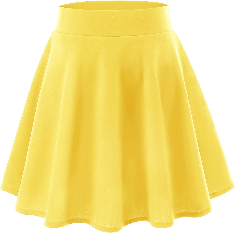 YOYAKER Falda Mujer Short Cortos El/ástica B/ásica Patinador Multifuncional con Pantalones Cortos