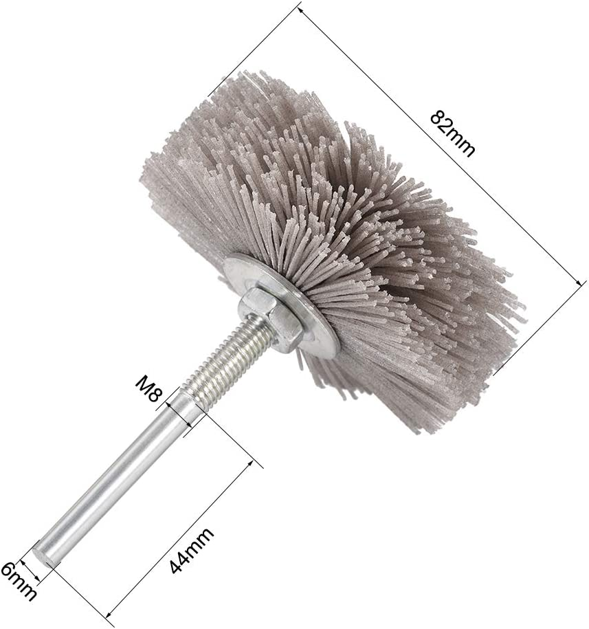 uxcell Abrasive Nylon Wheels Brush 80 Grits with 1//4 Inch Shank for Polish Grinder 5pcs