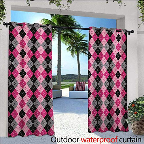 (homehot Abstract Outdoor Blackout Curtains Argyle Motif with Diamonds and Lozenges Infinite Symmetric Stripes Image Outdoor Privacy Porch Curtains W84 x L108 Baby Pink Black Grey)