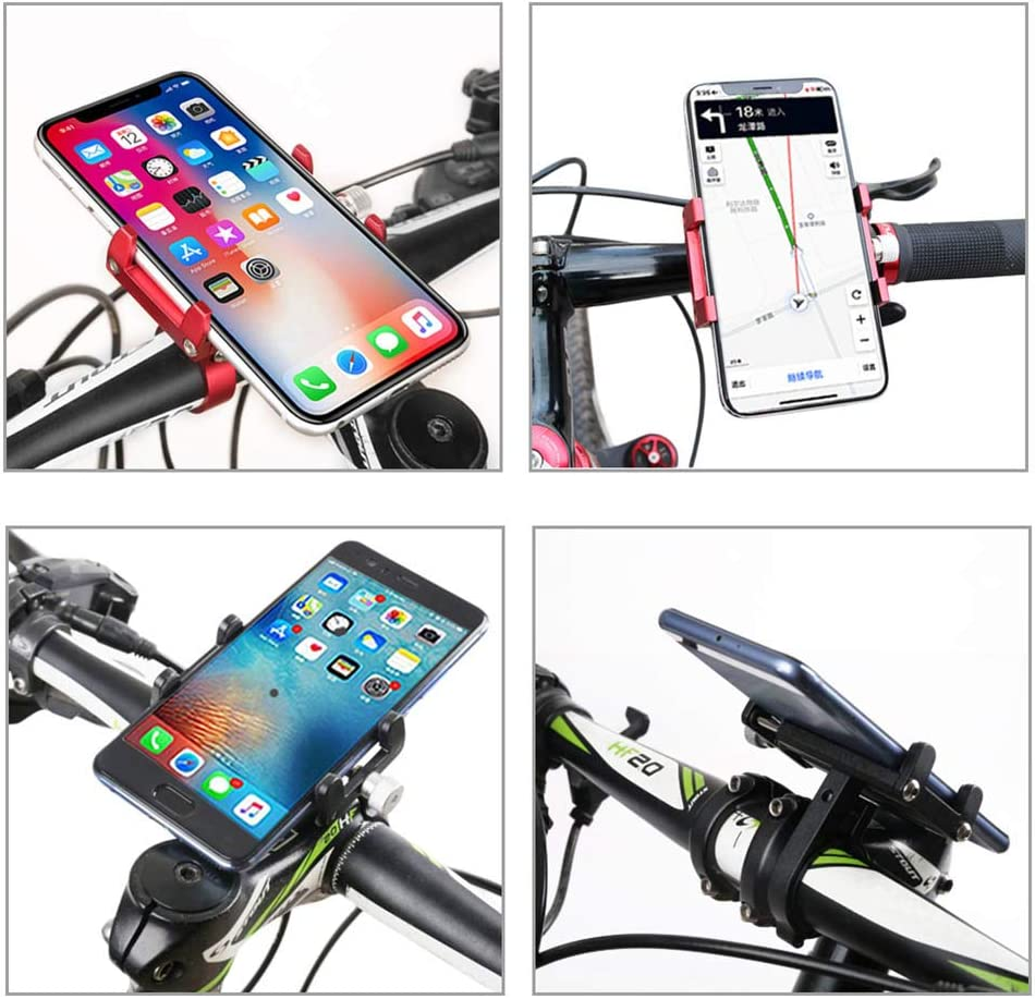 GANOPPER Cycling Bicycle Cell Phone Mount Holder Motorcycle Handlebar Cellphone Bike Holder MTB ATV Scooter Fit iPhone X XR Xs 7s 8 Plus Black