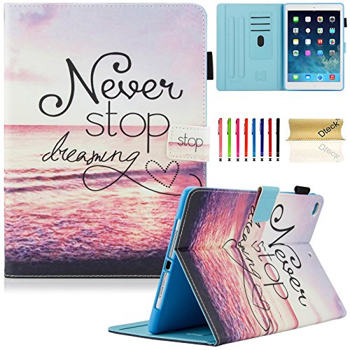 Dteck iPad 9.7 Inch 2018 2017 Case / iPad Air 2 Case / iPad Air Case - PU Leather Multi-Angle Folio Stand Smart Case with Auto Sleep/Wake Feature for Apple iPad 6th / 5th Gen, iPad Air 1 2, Never Stop