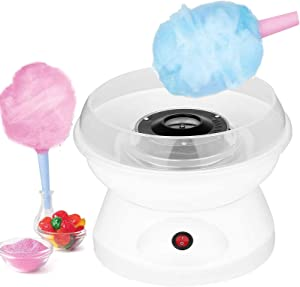 GVAKMM Fashion Mini Cotton Candy Machine,Cotton Candy Maker,Sugar Floss Maker,DIY Marshmallow Machine,Great for Home Party Movie Theater and Birthday Gift,Includes 10 Candy Cones & Scooper