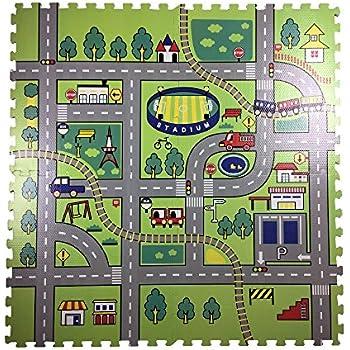 Amazon Com Kmmall 9 Pcs Children Puzzle Play Mat Traffic