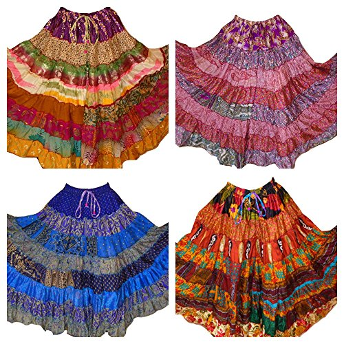 1 - 7 Yard Tribal Gypsy Maxi Jupe Tiered Jupes de danse du ventre Mlange de soie Banjara Fits S M L XL, ONE SIZE 34 - 46 Pack of 5