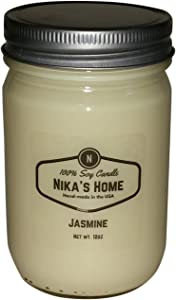 Nika's Home Jasmine Soy Candle - 12oz Mason Jar