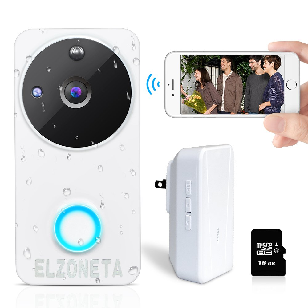 Elzoneta Video Doorbell Wireless Camera - 720P Smart WiFi Doorbell with Door Chime Built-in 16G Card, 166° Wide Angle, IP65 Waterproof, Night Vision, PIR Motion Detection, Real-Time Video, 2-Way Audio
