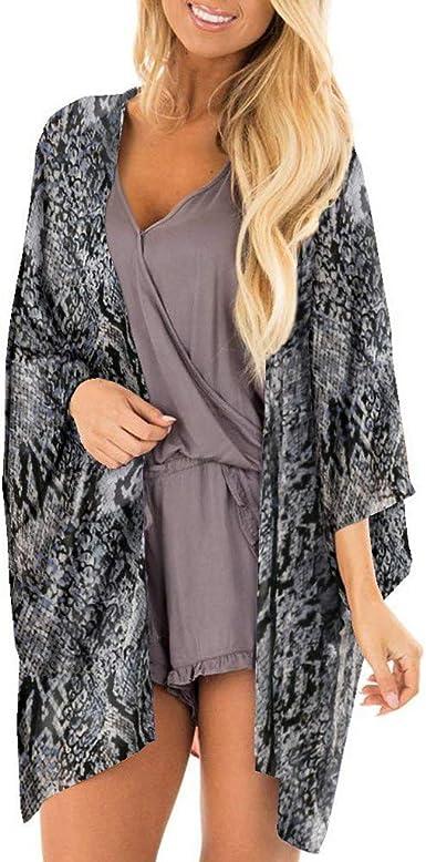 Women Ladies Loose Blouse Chiffon Kimono Shawl Cardigan Beach Cover Up Top Shirt