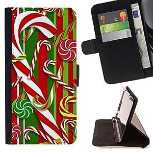 """For Samsung Galaxy A5 ( A5000 ) 2014 Version,S-type Bastón Blanco rojo de Navidad Navidad"""" - Dibujo PU billetera de cuero Funda Case Caso de la piel de la bolsa protectora"""