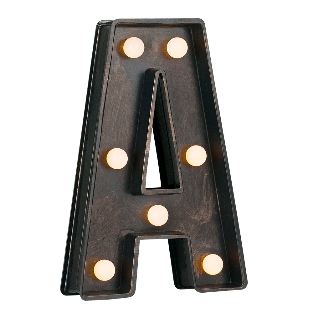 Decorative Vintage Style Brushed Bronze Effect Battery Operated LED Light - Ampersand '&' Symbol MiniSun