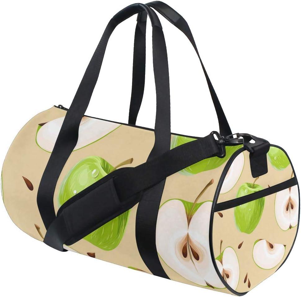 MALPLENA Green Apple Drum gym duffel bag women Travel Bag