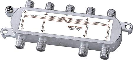 Sunluxy Mall - Distribuidor de antena para TV o SAT (1 entrada, 8 salidas, 5 - 2450 MHz, TNT y satélite)