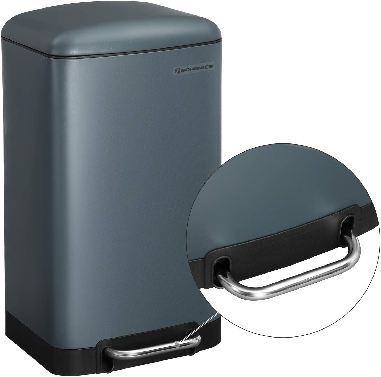Soft Close Lid Non-Slip Base White LTB01W SONGMICS Pedal Bin 30L Metal Kitchen Dustbin