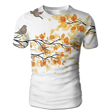 82e93577bab Amazon.com  Edgar John Branch With Pale Fall Leaves and Birds Change In  Season Summer Print Men s Short Sleeve Tshirt  Clothing
