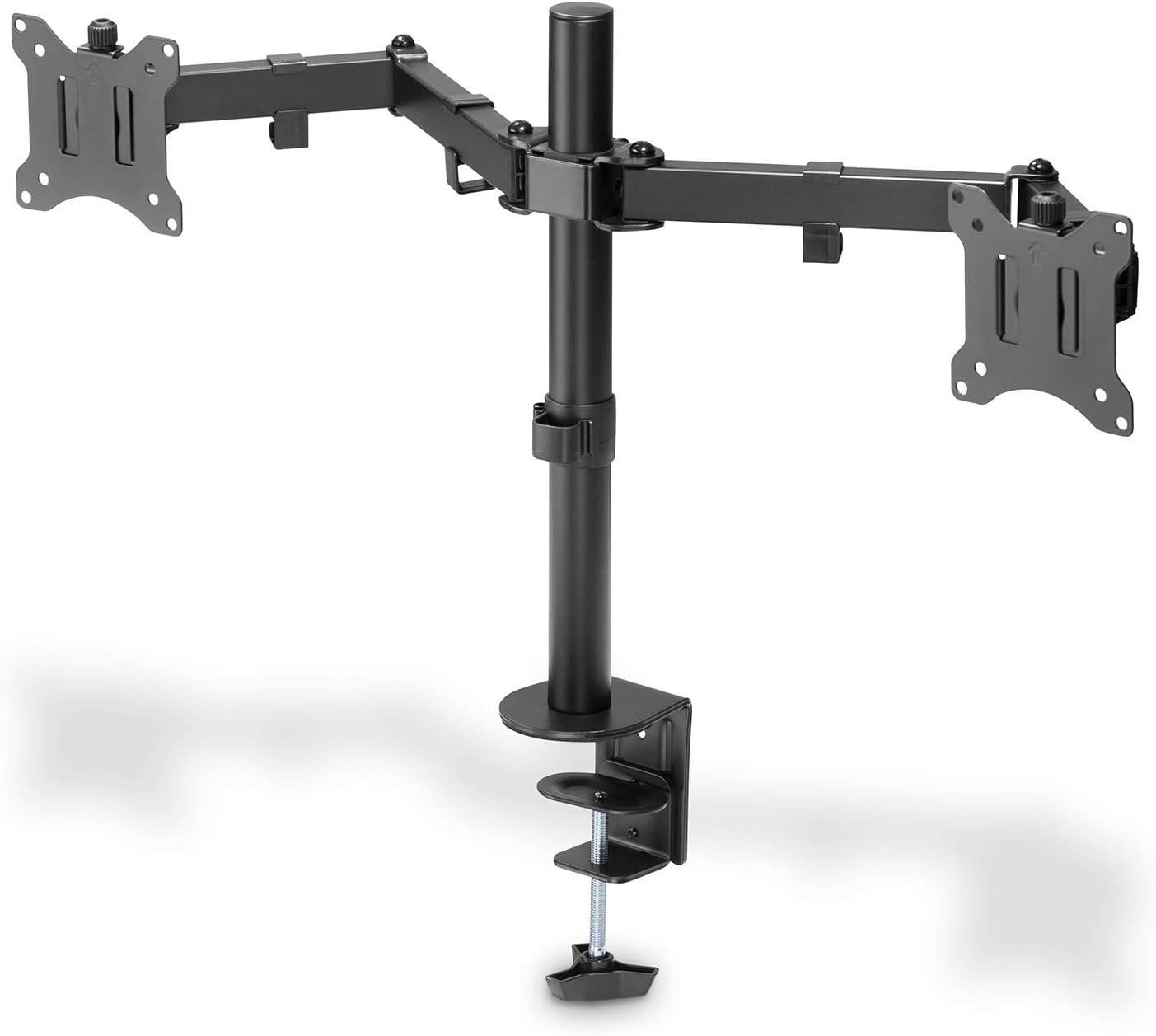 jusqu/à 32 Pince de Table 100 x 100 DIGITUS DA-90400 Support de Moniteur Noir 2 /écrans VESA 75 x 75 jusqu/à 3 x 8 kg