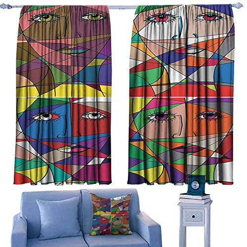 - DONEECKL Windshield Curtain Abstract Home Decor Abstract Woman Face Illustration Behind Stained Glass Human Facial Feature Blackout Draperies for Bedroom Window W84 xL72