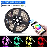 Sanwo LED Light String, 16.4ft Wireless Led Lights Strip, Bluetooth Remote Controller, 12V Power Adapter, 5050 RGB Waterproof IP65 Rope Lighting, Strips Light Fixing Clips, Support for iOS Android