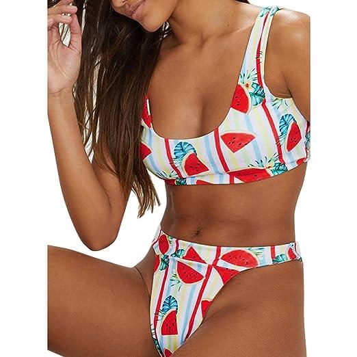 ded8f58738ab5 Amazon.com: Ghazzi Women Swimsuits Teen Girls Cute Printed Two Piece Bikini  Set Brazilian Bathing Suits Swimwear Beachwear: Clothing