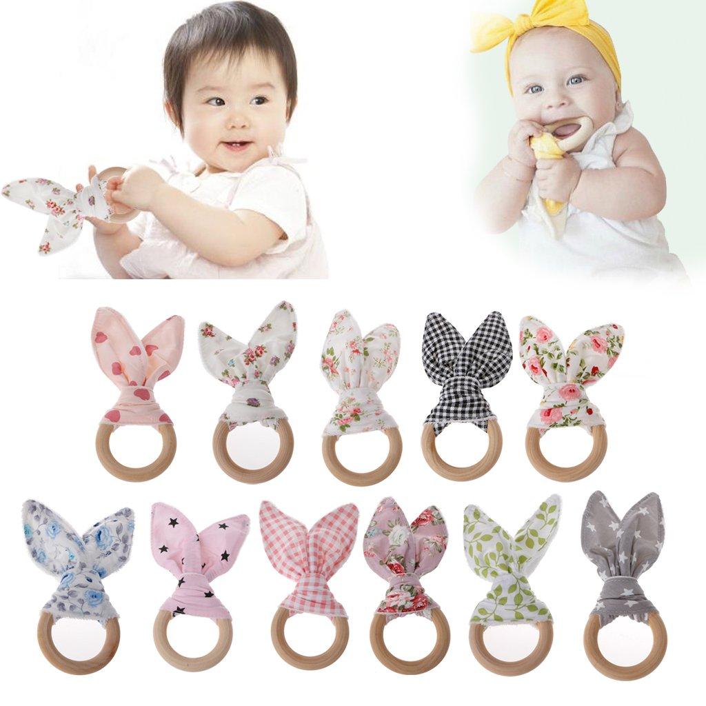 Jiamins Bague de dentition pour bébé, soins buccaux pour bébé,Anneau de dentition pour oreilles de lapin (1#)
