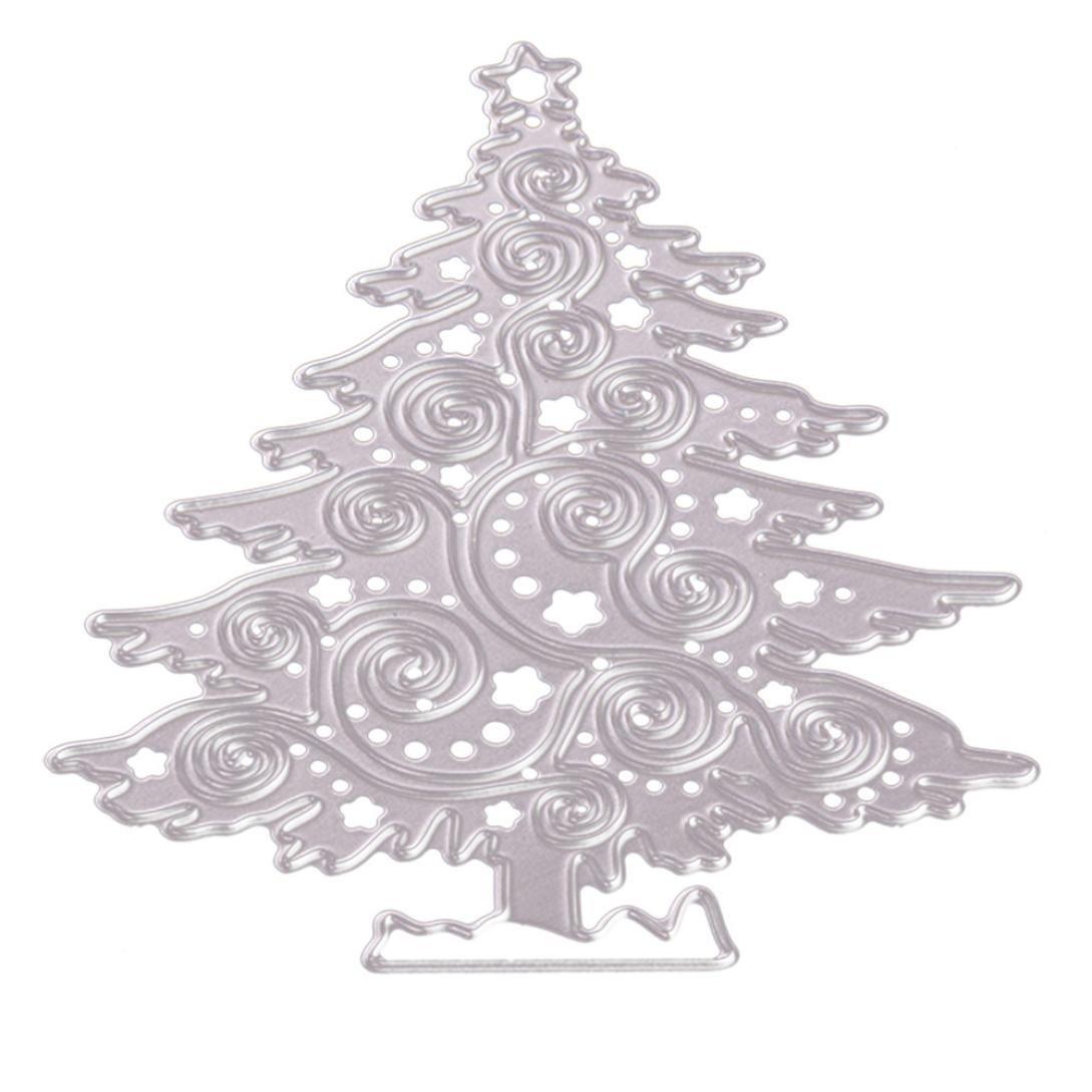 Cuttingダイス、cmrtew新しいメタル切削ダイスステンシルDIYスクラップブックフォト用紙カード C:Christmas tree シルバー GT B07437421V  C:Christmas tree