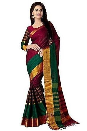 8d436195cec Calendar Cotton Silk Saree With Blouse Piece ( Red Free Size ...