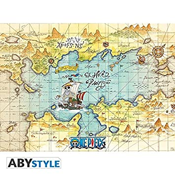 Map Of The World Of One Piece.Abystyle One Piece Poster Map 52x38 Amazon Co Uk Kitchen Home