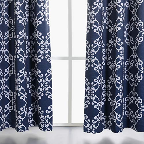 MYSKY HOME Navy Blue Curtains 84 Inch Long for Bedroom Moroccan Trellis Print Thermal Insulated Blackout Curtains for Kids Room, 52