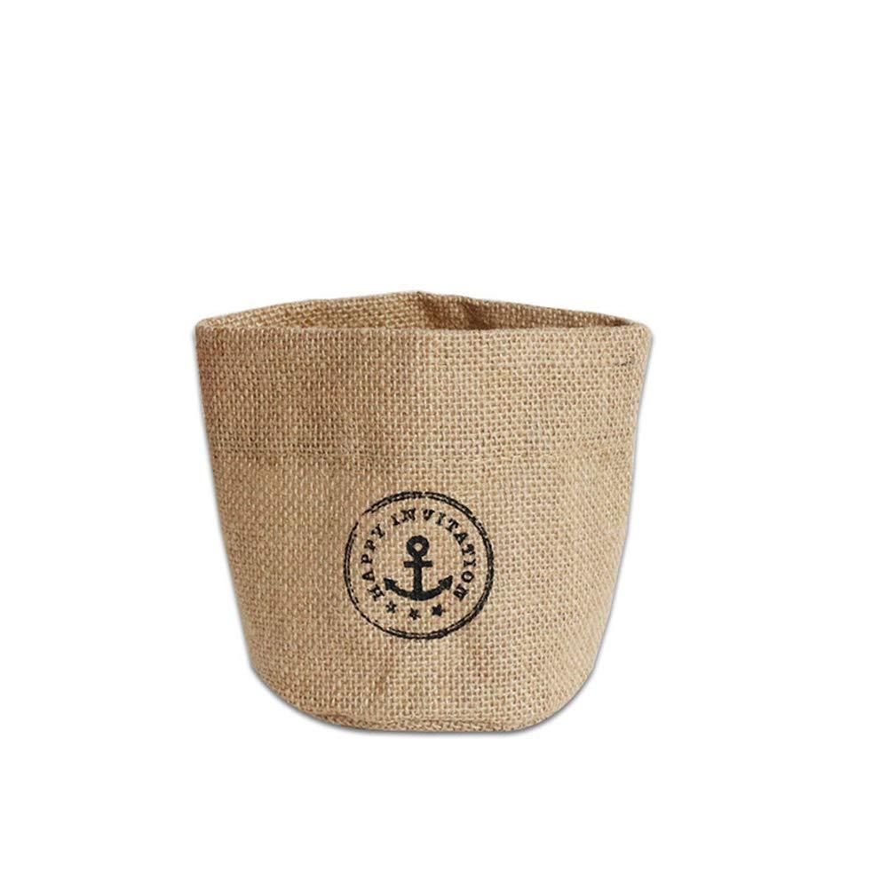 Lyanther Cosmos 2pz mini tasca portaoggetti da appendere in cotone e lino piccolo cestino Decor Bin bag per parete porta armadio (blu & giallo DOT modello)