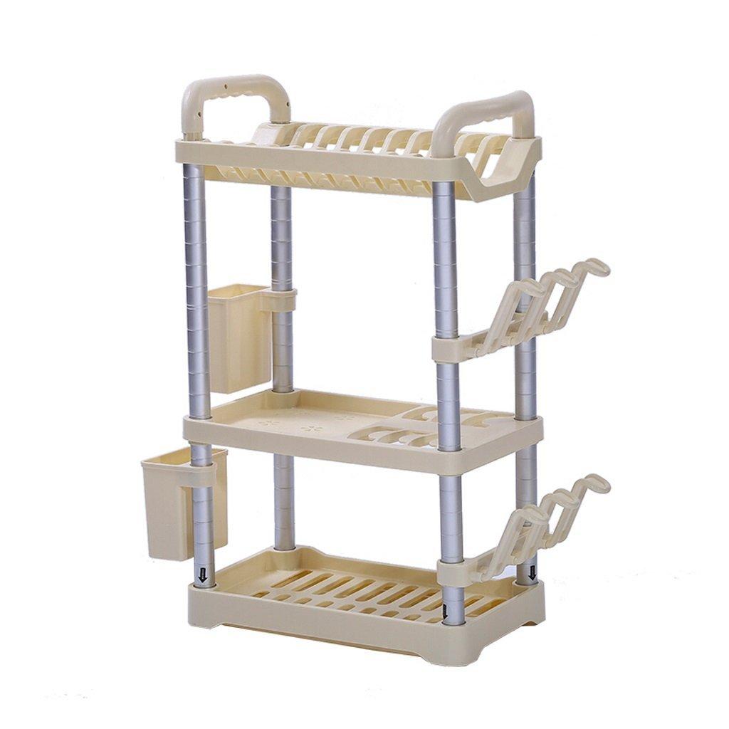 YCT 収納キャビネットを整理し、家族の経済の正方形キッチン棚3層プラスチック食器キッチン収納ラック調節可能な収納ラック調味料ラック多層 B07R6CRVXW