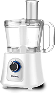 Courant 12 Cup Food Processor, Includes 3 Blades, Chop, Shred, Grate, Slice or Mix also includes a Kugel Blade, White