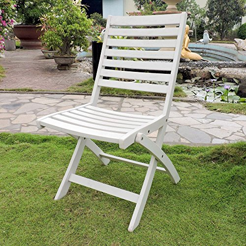 International Caravan FC-126-2CH-AWT-IC Furniture Piece Acacia Set of Two Folding Ladder Back Chair with Antique White Finish